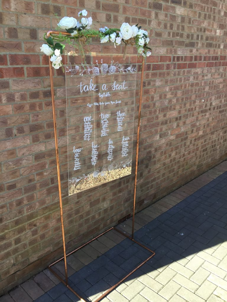 copper table plan frame